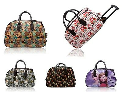 New Unisex Cartoon Print Wheeled Hand Luggage/Girls Waterproof Travel Carry Bag • 22.99£