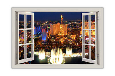 Iconic Las Vegas Photo 3D Window View Poster Prints Wall Art Pictures • 9.99£