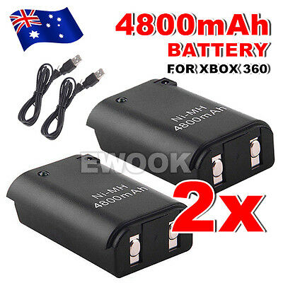 AU11.95 • Buy 2x For Xbox 360 Battery Charger Pack Wireless Rechargeable Controller USB Cable