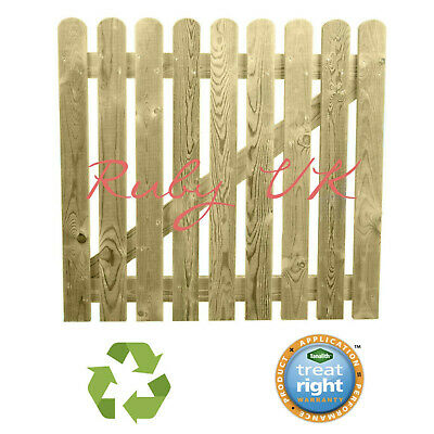 £60.01 • Buy 3ft X 3ft Round Top High Quality Planed Wooden Picket Garden Gate 900 X 900