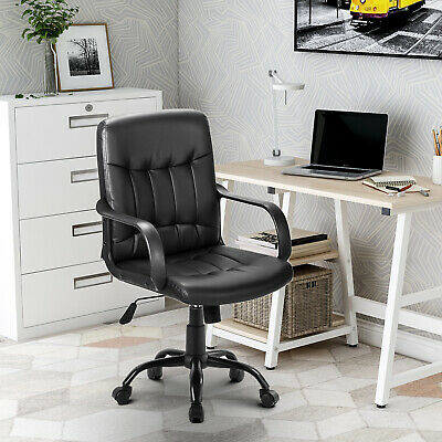 £59.99 • Buy Small Office Chair Leather Task Computer Desk Swivel Executive Adjustable Black