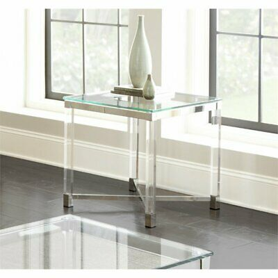 $158.50 • Buy Steve Silver Talia Square Glass Top Acrylic End Table In Chrome