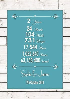 Anniversary Cotton 2nd Two 2 Second Years Year Wedding Personalised  Word Gift  • 5.95£