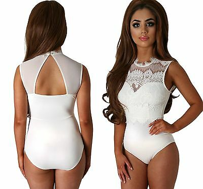 £15.19 • Buy Ladies White Sheer Lace High Neck Cut Out Back Bodysuit Padded Size 8 10 12 14