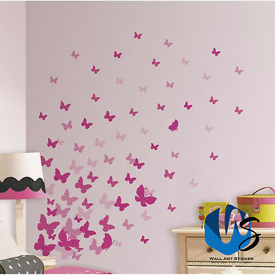 37 Mixed Size Butterfly Design Wall Art Stickers Kid Decals Baby Nursery Bedroom • 2.75£