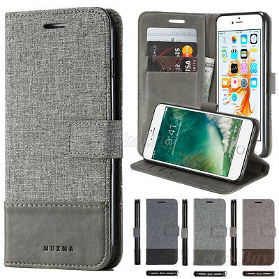 AU6.43 • Buy Luxury Canvas Leather Magnetic Wallet Card Flip Stand Case Cover For Cell Phones