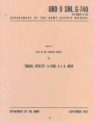 $82.82 • Buy M38 Jeep ORD9 G740 Complete Parts List Willys 1/4 Ton 4x4 Jeeps US Army Post War