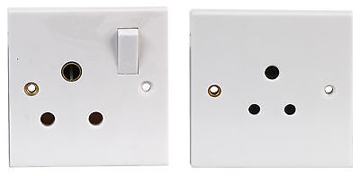 5A Unswitched Or 15A Switched Socket Wall Plate Round 3 Pin Plug Standard Lamp • 7.19£
