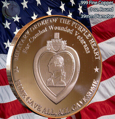 $3.99 • Buy  Military Order Of The Purple Heart  1 Oz .999 Copper Round