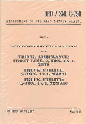 $34.50 • Buy M38A1 Jeep Economy Parts List Willys M38A1 M38A1C M170 G-758 Ambulance Army Book