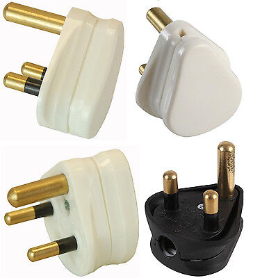 3 Pin Round Mains Plug 2A 5A 15A White Black PACKS OF 1 2 5 Or 10 In 2 5 15 AMP • 8.05£