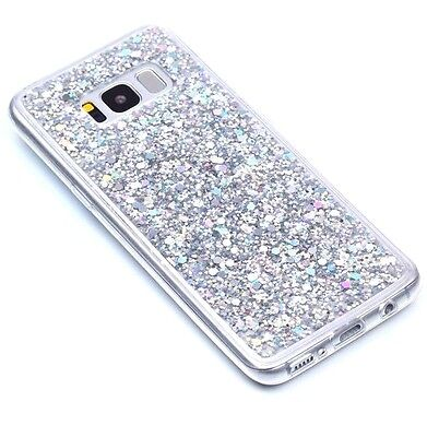 $ CDN9.98 • Buy For Samsung Galaxy S8 - TPU RUBBER GUMMY CASE COVER SILVER GLITTER SHINY SEQUINS