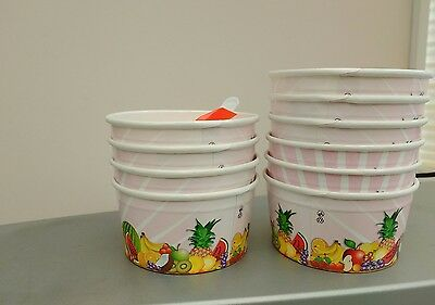 Party Pack 10 Ice Cream Tubs And Spoons 5 Oz • 2.95£