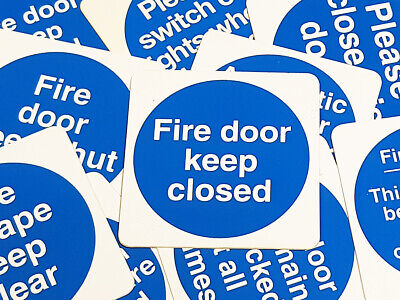 Heavy Duty Safety Fire Door/Wall Mandatory Signs/Stickers - Blue Circle On White • 0.99£