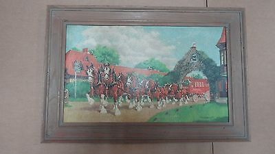 $ CDN302.43 • Buy Anheuser Busch 1940's 50's Framed Clydesdale Sign Simmons-Sissler St Louis Mo