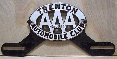 $ CDN536.29 • Buy Old Porcelain TRENTON AUTOMOBILE CLUB License Plate Topper AAA New Jersey Fox Co