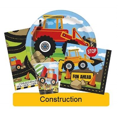 CONSTRUCTION Birthday Party Range - Tableware Banners Balloons & Decorations(UQ) • 1.79£