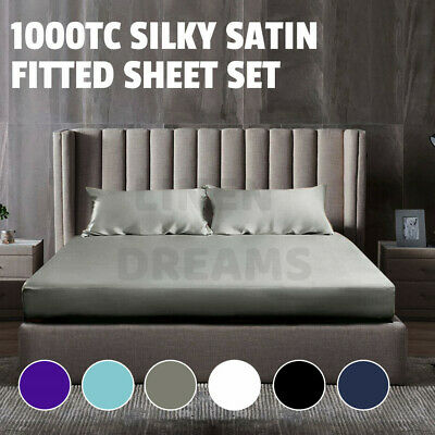 AU35.80 • Buy 1000TC All Size Ultra SOFT Silk Satin Fitted Sheet Set Cool Summer-No Flat Sheet