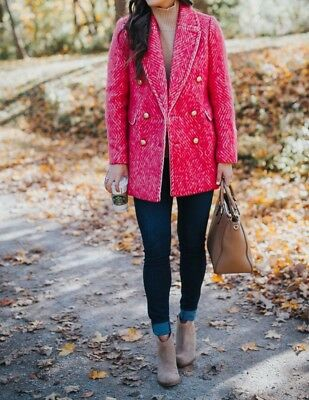 AU260.22 • Buy New J.crew Diamond Tweed Coat Size 0 Sorbet Ivory Pink F5430 Sold-out!