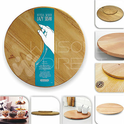 £14.95 • Buy Rotating Wooden Tray Round Lazy Susan Turntable Serving Solid Plate Pizza Board