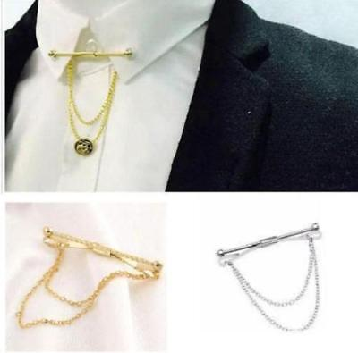 £3.99 • Buy Mens Neck Tie Shirt Pin Tie 5.5 Cm Bar Silver Gold Collar Clip Clasp Gift Chain