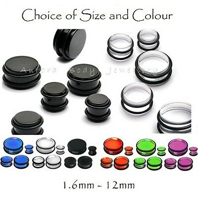 Ear Plug With O-Rings - Solid Acrylic Straight Stretcher Expander Flesh Tunnel • 2.99£