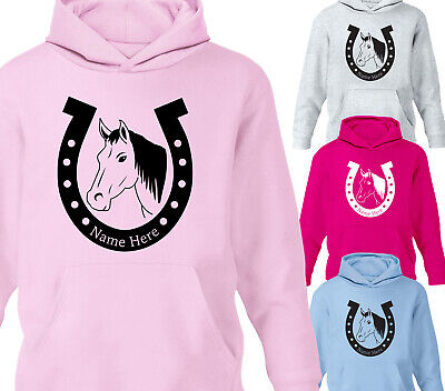 Personalised Kids Horse Riding Hoodie Pony Horse Shoe Hoody Various Sizes • 15.75£