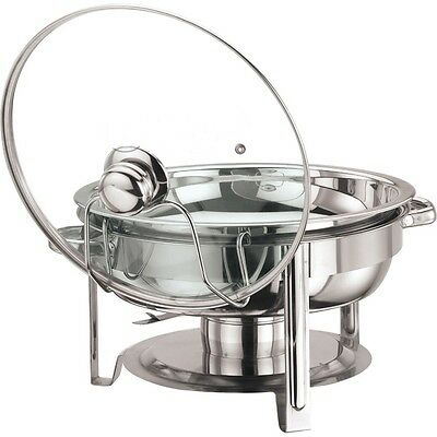 £23.97 • Buy Round 4.5 Litre Chafing Dish With Glass Lid/ BUFFET DISH / PARTY FOOD WARMER.
