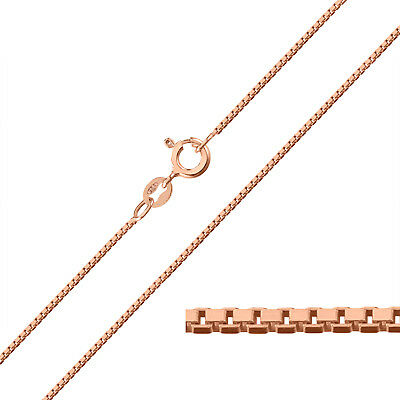 9ct Rose Gold Plated On Sterling Silver 1mm BOX Chain Necklace • 16£