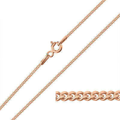 9ct Rose Gold Plated On Sterling Silver 1.2mm CURB Chain Necklace Many Lengths • 11.49£