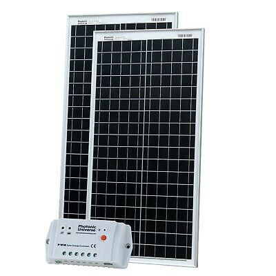 £159.99 • Buy 80W (40W+40W) Solar Panel Kit With Controller & Cable For Camper / Boat 12V/24V