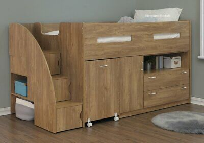 Mid Sleeper Cabin Bed With Stairs - Desk Shelves - Storage | New Kids Cabin Beds • 439£