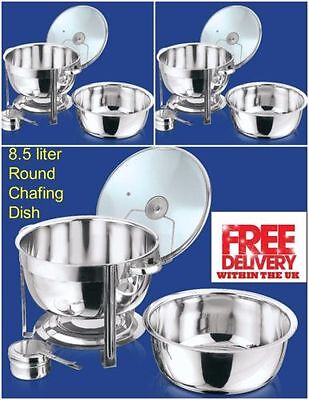 £99.97 • Buy Set Of 3 Round 8.5L Chafing Dish With Glass Lid/BUFFET DISH/PARTY FOOD WARMER