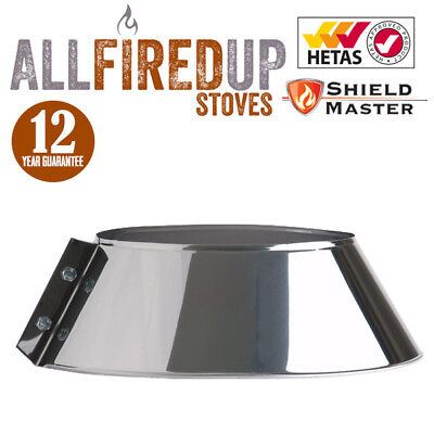 Twin Wall Insulated Flue Pipe Multifuel Storm Collar Shieldmaster Stainless • 28.98£