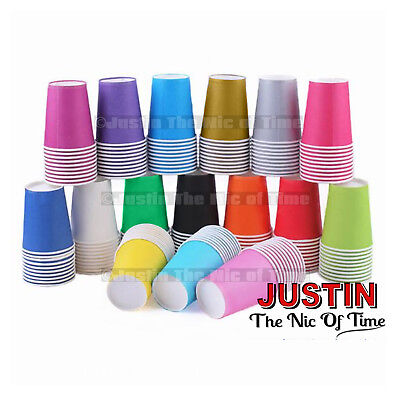 £5.54 • Buy Paper CUPS (9oz) Plain Solid Colours Birthday Party Catering Tableware Job Lot