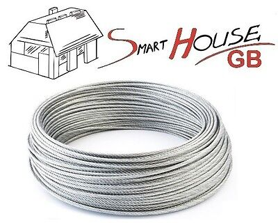 £1.38 • Buy 1mm 1.5mm 2mm 3mm 4mm 5mm 6mm 8mm STAINLESS Steel Wire Rope Cable Rigging Extra