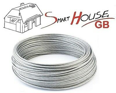 1mm 1.5mm 2mm 3mm 4mm 5mm 6mm 8mm STAINLESS Steel Wire Rope Cable Rigging Extra • 1.38£