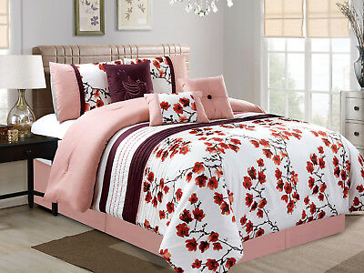 $61.79 • Buy 7-P Cherry Blossom Bird Embroidery Pleated Comforter Set Pink White Purple Queen