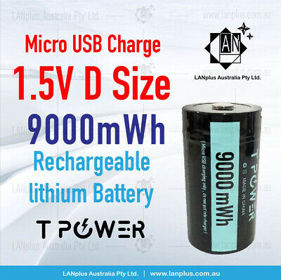 AU35.99 • Buy 1.5V 9000mWh D Size Rechargeable Lithium Battery Micro USB Port Long Cycle Life