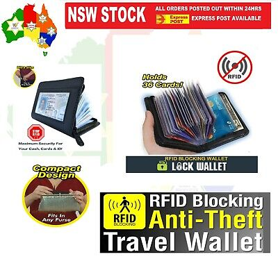AU9.95 • Buy RFID Lock Wallet Blocking Anti Scan Zipper Men Women Credit Card Holder PU Black