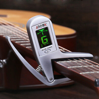 $ CDN26.43 • Buy AROMA Clip-on Lcd Bass Guitar Capo Tuner Alloy Chromatic Clip Quick Change Silve