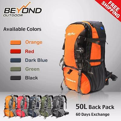 AU42.50 • Buy 50L Rucksack CAMPING Camp HIKING MOUNTAIN TRAVEL BACKPACK Equipment Gear Bag