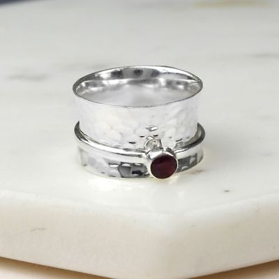 £19.99 • Buy 925 Sterling Silver Birthstone Spinning Ring July Ruby Sizes N P R1/2