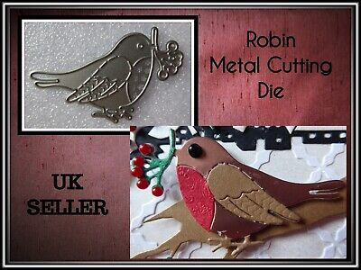 £3.99 • Buy Christmas Robin Metal Cutting Die Holly Stencil Crafts Card Making Scrapbooking