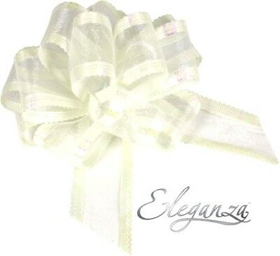 7 Metres Ribbon & 1 X 50mm Large Pull Bows Organza -wedding Car Prom - Ivory • 3.14£
