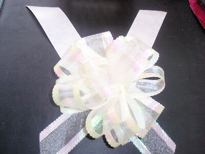 7 Metres Wedding Car Ribbon & 1 X 50mm Large Pull Bows White Organza • 3.14£