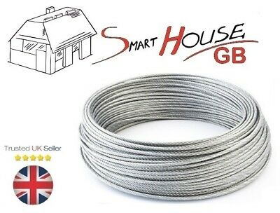 £0.99 • Buy 3mm Stainless Steel AISI 316 Wire Rope A4 Marine Grade Cable 7x7 Price Per Meter