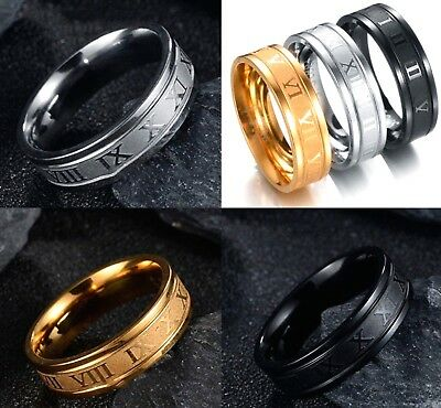 6mm Black Silver Gold Stainless Steel Roman Numeral Band Mens Womens Ring K - Z4 • 4.99£