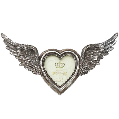 Alchemy Winged Heart Photo Picture Frame, Silver Colour, Gothic, Wings • 19.99£