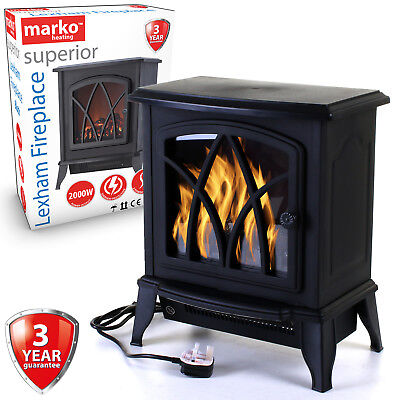 Electric Fireplace 2KW Fire Wood Flame Heater Stove Living Room Log Burner 2000W • 59.99£
